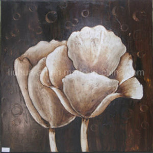 Decorative Handmade Classic Foil Flower Oil Painting on Canvas (LH-500879)
