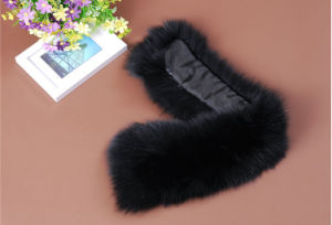 Black Real Rabbit Fur Collar for Down Coat Qy-B005