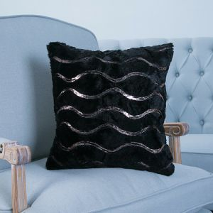 Sequin Embroidery Decorative Cushion/Pillow with Wave Pattern (MX-29) pictures & photos