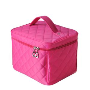 Candy Diamond Quilted Top Handle Make up Case and Toiletry Bag