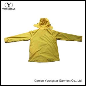 Windbreaker Ladies Yellow Waterproof Hooded Jacket pictures & photos