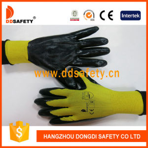 Yellow Nitrile Coated Gloves Working
