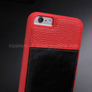 Red with Brown Genuine Leather Case for iPhone 6/6s