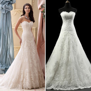 Elegant Lace Tulle Beads Slim A-Line Wedding Dresses (TM-AL018)