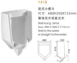 Deluxe Wall-Hung Urinal (W1417) pictures & photos