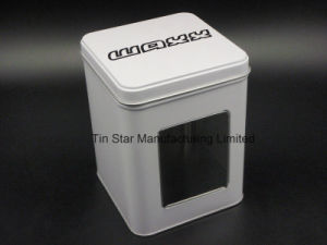Square Tin Box with Pet Clear Window on Tin Body