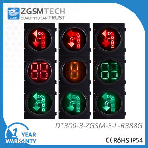Turn Round U Turn and Turn Left Traffic signal Light with 2 Digital 3 Colors Counterdown Timer Red Yellow Green Dia. 300mm 12 Inch