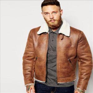 China 2016 Hot Sale Cool Men Faux Shearling Jacket In Tan China