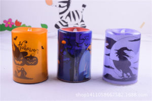 Plastic Colorful Drawing LED Halloween Candle (HD-HCl-02)