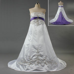 China Strapless White And Purple Bead Embroidery Satin Plus Size