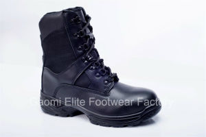 High Cut Black Smooth Cow Leather Safety Boot Military-03 B