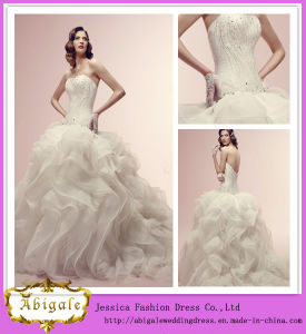 Latest Fashion Hot Sale Floor Length A-Line Puffy Skirt Designer Wedding Dresses (WD40)