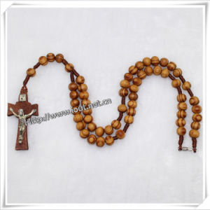 Catholic Handmade Natural Wood Beads Cord Rosary / Religious Knotted Rosary Cross (IO-cr181)