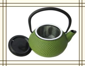 0.3L Cast Iron Teapot Green with Strainer (CL1D-CCS2035) pictures & photos