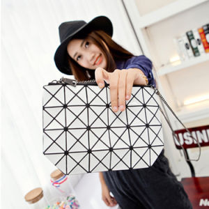 Fashion Cosmetic Bag Geometry Ling Ge Chain Zipper Holding Bagfemale Package Italian Leather Women Shoulder Bags Wholesale pictures & photos