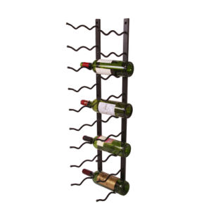 China 9 Tier Black Metal Wall Mounted Wine Bottle Holder Rack