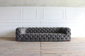 Classic Button Tufting Grey Color Lint Fabric Chesterfield Sofa