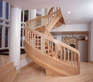 Solid Wood Spiral Stair, Red Oak Wood Custom Made