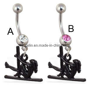 Body Jewelry Belly Ring Navel Ring With Dangling Stripper and Pole