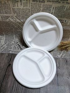 Biodegradable Tableware Bagasse Disposable Dinner Plate with Compartments & China Biodegradable Tableware Bagasse Disposable Dinner Plate with ...