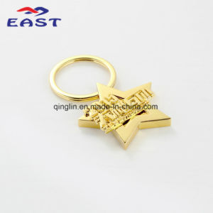 Custom Luxury Gold Star Zinc Alloy Keychain