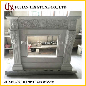 Stone White Marble Fireplace with Flower Carving