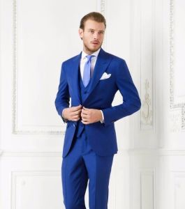 Royal Blue Single Breasted Wool Fabric Suit pictures & photos