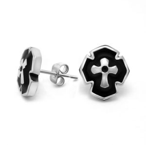 Black Vintage Stud Earring Men Fashion Jewelry 316L Stainless Steel