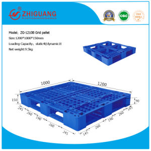 EU Standard Pallet 1.2*1.0m HDPE Static 3 Ton Plastic Tray Forklift Pallet with 5 Runners for Warehouse Storage Products (ZG-1210B) pictures & photos