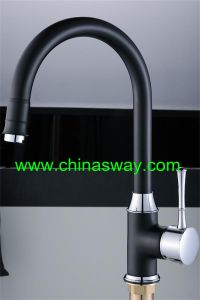 Kitchen Sink Mixer with Goose Pipe, Black + Chrome (SW-09584-Q12) pictures & photos