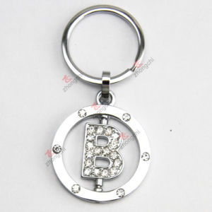 Rotatable Letter Metal Keychain with Rhinestone for Gift