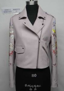Ladies′ Printed Real Leather Jacket, Clothing