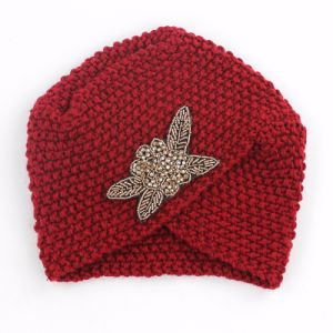 Women′s Braided Baggy Beanie Crochet Warm Winter Hat - Red