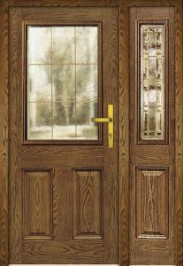 Oak Grain Stain Color Mother and Son Fiberglass Door with Glass