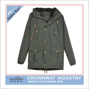 Men Enzyme  Washed Cotton Parka Jacket with Fleece Lining pictures & photos
