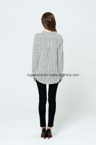 Latest Casual Designs Stripe Women Shirt Long Sleeve Girls Blouse pictures & photos