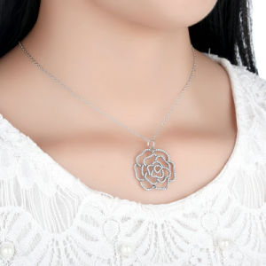 925 Sterling Silver Shimmering Rose Pendant Necklace, Clear CZ Necklaces & Pendants pictures & photos