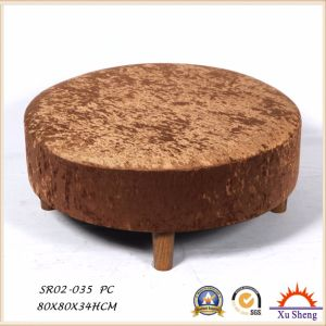 Home Furniture Wooden Round Velvet Fabric Seating Ottoman