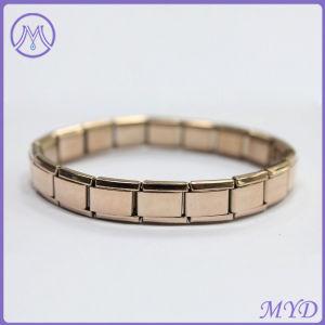 Rose Gold Plating 9mm Clic Size Stainless Steel 18 Links Italian Charms Starter Bracelet