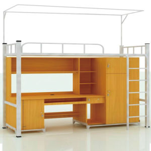 China Knock Down Modern School Furniture Bunk Bed With Study Table