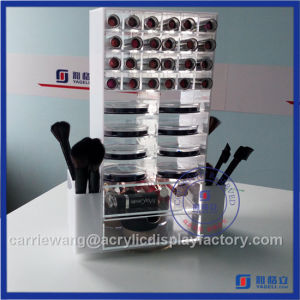 2016 High Clear Rotating Style Acrylic 48 PCS Lipstick Stand with Two Brush Holder & 16 Compacts Acrylic Compact Holder