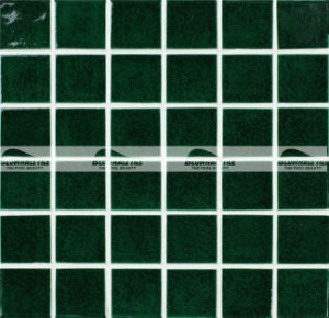 48x48mm Dark Green Carckle Glazed Ceramic Pool Mosaic Tile Bck713