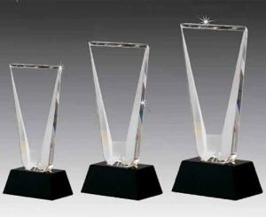 Best K9 Art Style Glass Crystal Trophy With Black Base Plaque Award