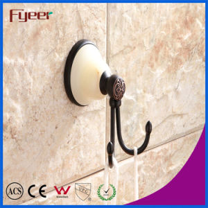 Fyeer Ceramic Base Black Bathroom Accessory Brass Hanging Robe Hook pictures & photos