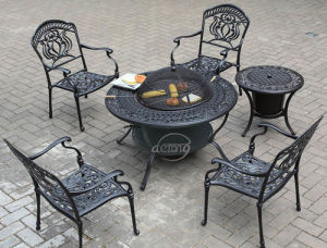 China Cast Aluminum Garden Furniture Barbecue Table And Chairs With