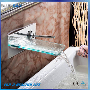 Hot Selling Chrome Glass Wall Mounted Bathroom Waterfall Faucet pictures & photos
