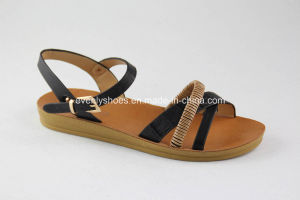 Open Toe Fashion Lady Sandal with Flat Heel pictures & photos