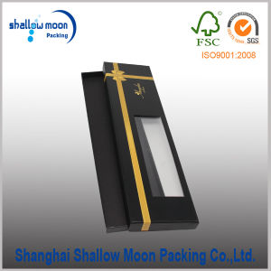 Customized Foil Black Paper Tie Packaging with Window (QYCI15222)