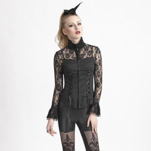 Y-618 Sexy Girls Gothic Mesh Lace Sleeves Skinny Blouse