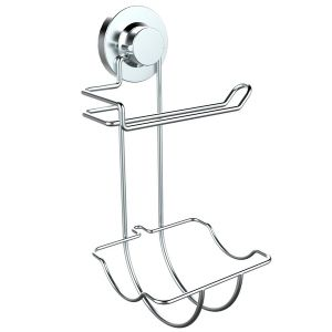 No Tool Bathroom Stainless Steel Suction Combo Toilet Roll Holder